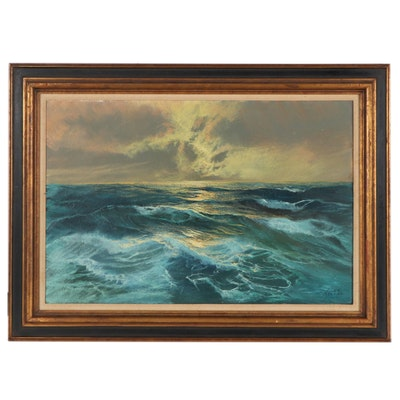 Seascape Oil Painting, Late 20th Century