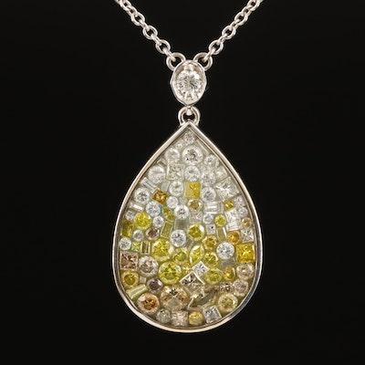 18K 4.50 CTW Diamond Teardrop Necklace