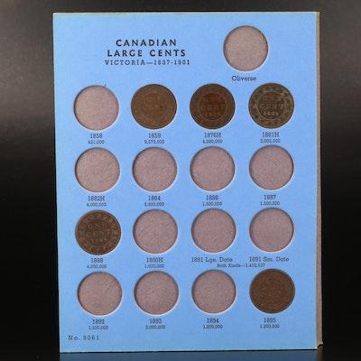 Whitman Folder of Nineteen Canadian Large Cents