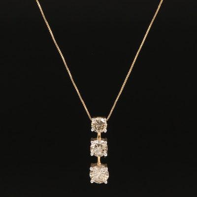14K 1.89 CTW Graduated Diamond Three Stone Pendant Necklace