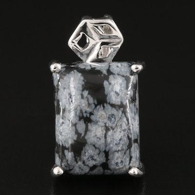 Sterling Silver Snowflake Obsidian Pendant