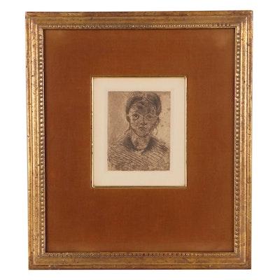 "Paul Cézanne Restrike Etching ""Tête de jeune fille"""