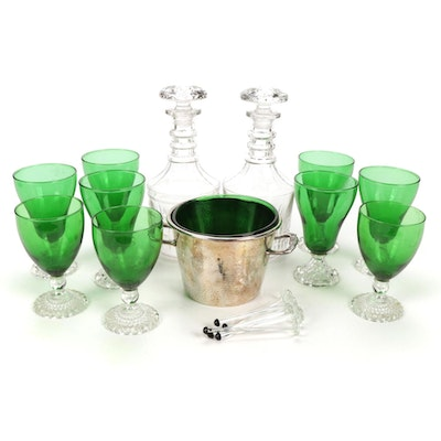 Glass and Silver Plate Barware Including Ice Bucket and More, Mid-20th Century