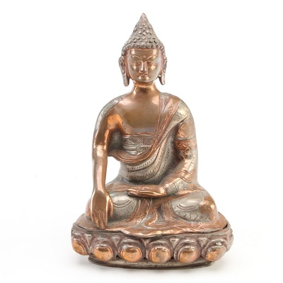 Indian Hand-Chased Copper Plated Metal Buddha Figure