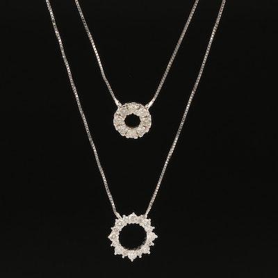 14K 0.74 CTW Diamond Double Circle Necklace
