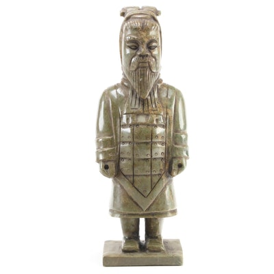 Chinese Hand-Carved Soapstone Warrior Figurine