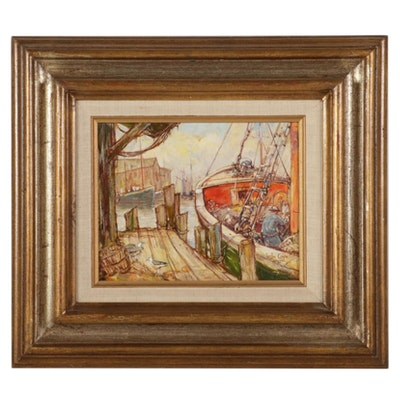 """Leslie Cope Oil Painting """"The Fishing Boat (Gloucester, Mass.),"""" 1976"""