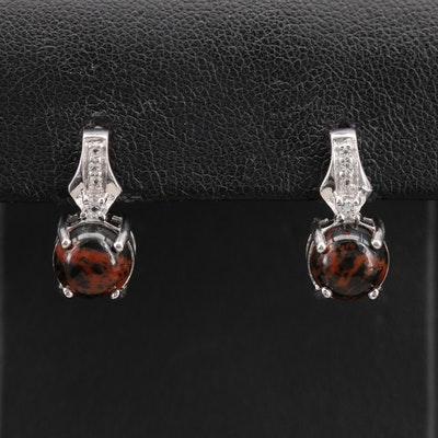 Sterling Silver Mahogany Obsidian and Topaz Drop Earrings