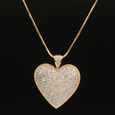 14K 1.30 CTW Diamond Heart Pendant on Square Herringbone Chain