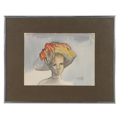 Marge Mills Portrait Watercolor Painting, Late 20th Century