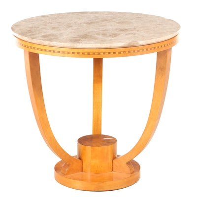 Biedermeier Style Veneered, Banded Inlay and Stone Top Center Table