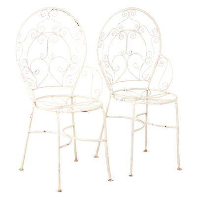 Pair of White-Painted Iron Patio Side Chairs, Mid to Late 20th Century