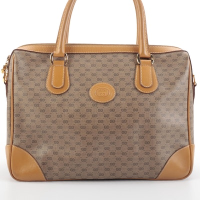 Gucci Boston Bag in Micro GG Coated Canvas and Leather