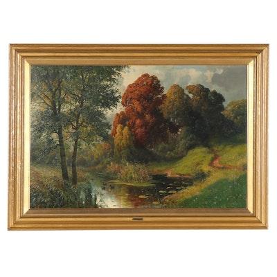 """Alois Arnegger Landscape Oil Painting """"Autumn Ducks in the Pond"""""""
