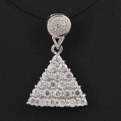 Sterling Silver Zircon Triangle Cluster Pendant