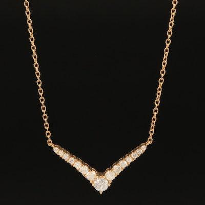 Sterling 1.00 CTW Diamond Chevron Necklace