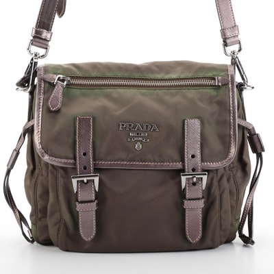 Prada Flap Front Shoulder Bag in Tessuto Nylon and Saffiano Leather