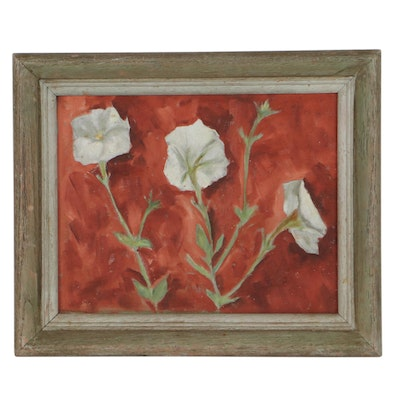 Oil Painting of Flowers, Mid-20th Century