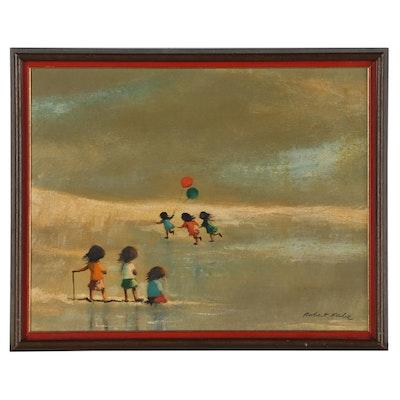 Robert Fabe Tempera Painting of Children at the Seashore
