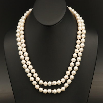 Pearl Opera Length Endless Necklace with Platinum Diamond Accents