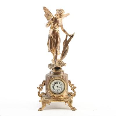 Art Nouveau Gilt Bronze Fairy Mantel Clock, Late 19th to Early 20th Century