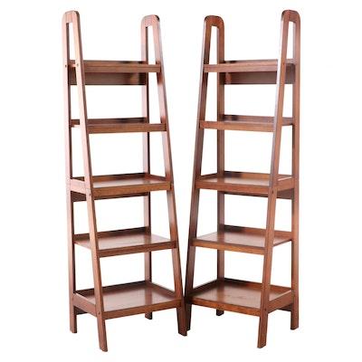 Contemporary Walnut Finish Ladder Bookcase Shelving Units