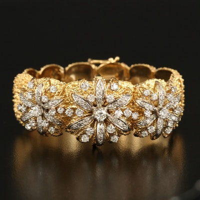 18K 2.95 CTW Diamond Floral Bracelet with Palladium Accents and Stippled Finish