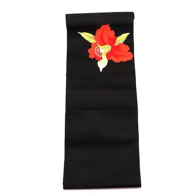 Black Silk Iris Nagoya Obi, Shōwa Period