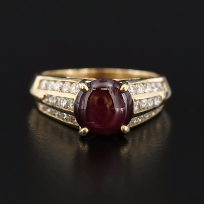 14K 3.25 CT Star Ruby Ring with Diamond Channel Shoulders