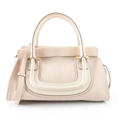 Chloé Everston Medium Top Handle Bag in Beige Grained and Smooth Leather