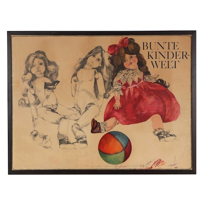 """Offset Lithograph Poster After Stefan and Marie-Luise Lemke """"Bunte Kinderwelt"""""""