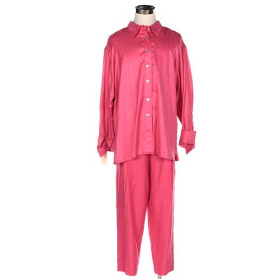 Branka Klarige Pink Herringbone Textured Silk Pant Set
