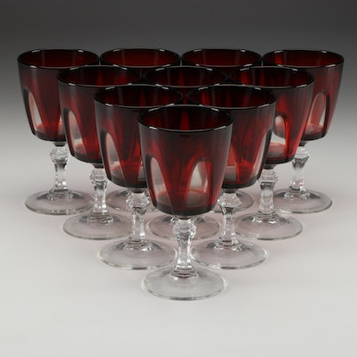 """Cristal D'Arques-Durand """"Gothic"""" Ruby and Clear Glass Water Goblets"""