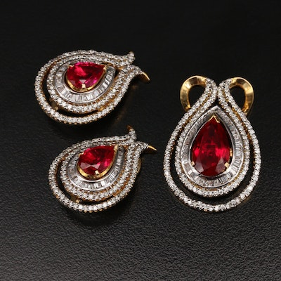 14K Ruby and 4.67 CTW Diamond Pendant and Earring Set