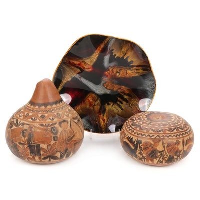 Hand Carved Gourds with Hand-Painted Abstract Glass Platter