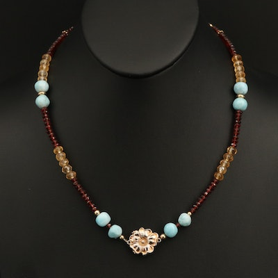 Citrine, Garnet and Larimar Beaded Necklace with Floral Center