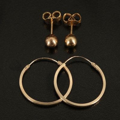 14K Hoop and Ball Earrings