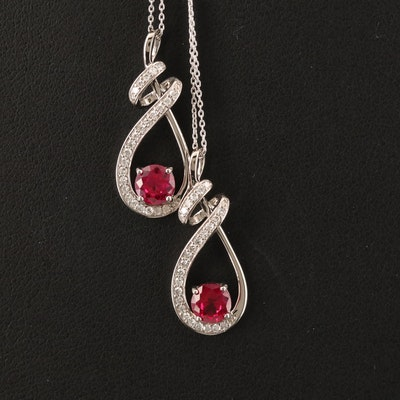 10K Ruby and Diamond Pendant Necklaces