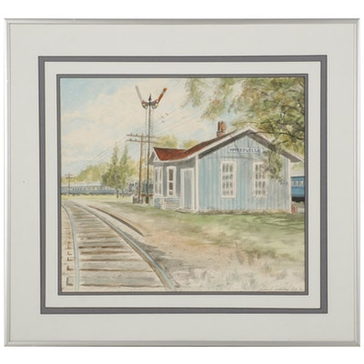 Jim Nickloy Watercolor Painting of Waterville Train Station, 1988