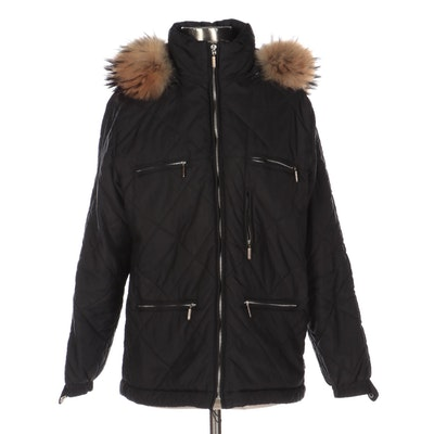 Colmar Sportswear Overshe's Quilted Coat with Detachable Tanuki Fur Trim