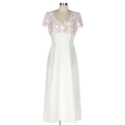 Victor Costa by Nahdrée Empire Waist Occasion Dress with Lace Bodice