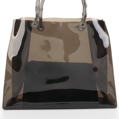 Gucci Dark Translucent Tote Bag with Bamboo Style Handles