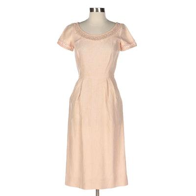 Bullocks Wilshire Short Sleeve Linen Dress with Pearlized Beaded Trim