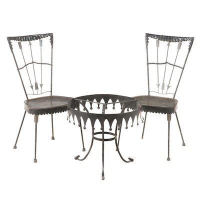 Pair of Tomaso Buzzi Iron Patio Side Chairs Plus Side Table, Mid-20th Century