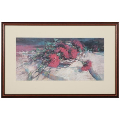 Dee Toscano Red Flowers Offset Lithograph, Late 20th-21st Century