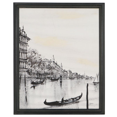 Canal Scene Acrylic Painting
