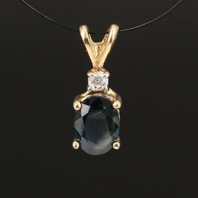 14K 1.00 CT Sapphire and Diamond Pendant