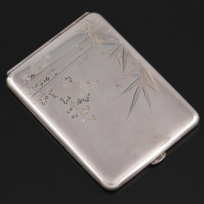 Kichigoro Uyeda Chased 950 Sterling Cigarette Case, Early/Mid 20th Century