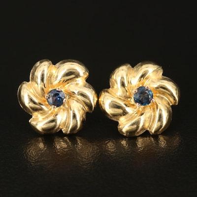 Sapphire Stud Earrings with Enhancers