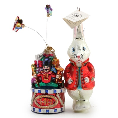 Christopher Radko Handblown FAO Schwartz and Rabbit Glass Ornaments